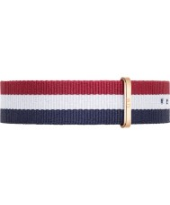 Daniel Wellington DW00200003 Mens Classic 40mm Cambridge Rose Gold Blue White and Red Nylon Spare Strap
