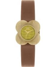 Orla Kiely OK2066 Ladies Poppy Pale Horn Flower Case Tan Leather Strap Watch