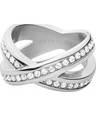 Dyrberg Kern 337982 Ladies Nagyz III Silver Steel Ring with Crystals - Size Q
