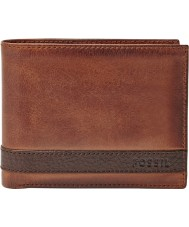 Fossil ML3646200 Mens Quinn Brown Leather Passcase Wallet