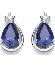 Purity 925 P3628ES-1 Ladies Blue Sapphire Sterling Silver Stud Earrings With CZ