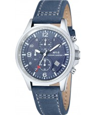 AVI-8 AV-4001-05 Mens Hawker Hurricane II Blue Leather Strap Chronograph Watch