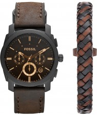 Fossil FS5251SET Mens Machine Dark Brown Chronograph Watch