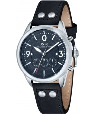 AVI-8 AV-4024-03 Mens Lancaster Bomber Black Leather Strap Chronograph Watch