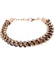 Nevine Crystals DC101 Triple Chain Leather Bracelet with Grey Swarovski Rhinestone
