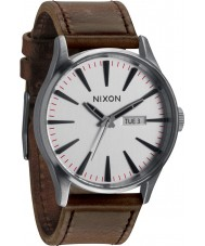 Nixon A105-2113 Sentry Leather Silver Watch