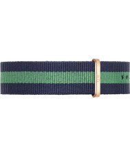 Daniel Wellington DW00200005 Mens Classic 40mm Warwick Rose Gold Blue and Green Nylon Spare Strap
