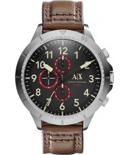 Armani Exchange AX1755 Mens Dark Brown Leather Strap Chronograph Sports Watch