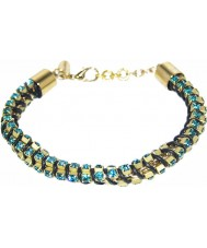 Nevine Crystals DC102 Triple Chain Leather Bracelet with Blue Swarovski Rhinestone