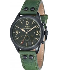 AVI-8 AV-4024-04 Mens Lancaster Bomber Green Leather Strap Chronograph Watch