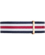 Daniel Wellington DW00200002 Mens Classic 40mm Canterbury Rose Gold Blue White and Red Nylon Spare Strap