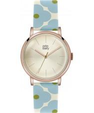 Orla Kiely OK2072 Ladies Patricia Sky Blue Flowery Leather Strap Watch