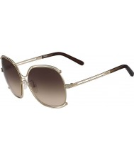 Chloe Ladies CE129S Rose Gold and Transperent Brown Sunglasses