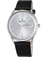 Festina F6837-1 Mens Retro Black Leather Strap Watch