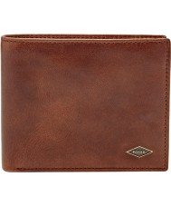 Fossil ML3736201 Mens Ryan Dark Brown RFID Wallet with Large Coin Pocket
