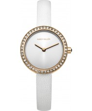 Karen Millen KM146WRGA Ladies White Leather Thin Strap Watch