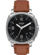 Nixon A1077-1037 Mens Charger Saddle Leather Strap Watch