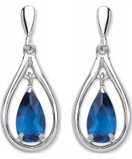 Purity 925 PUR3781ED Ladies 925 Sterling Silver Drop Earrings with Blue Crystals