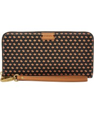 Fossil SL7179016 Ladies Emma Large Black Multi RFID Zip Clutch