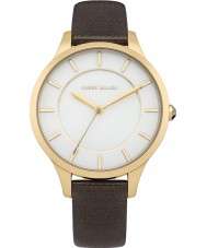 Karen Millen KM133TGA Ladies Dark Brown Pearlised Leather Strap Watch