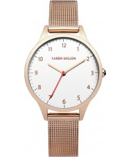 Karen Millen KM118RGMA Ladies Rose Gold Plated Mesh Bracelet Watch