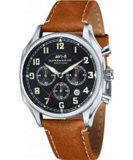 AVI-8 AV-4025-02 Mens Supermarine Seafire Brown Leather Strap Chronograph Watch