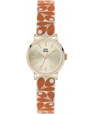 Orla Kiely OK2078 Ladies Patricia Acorn Print Orange-Cream Leather Strap Watch