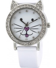 Tikkers TK0110 Girls Kitty White Watch with Stone Set Dial