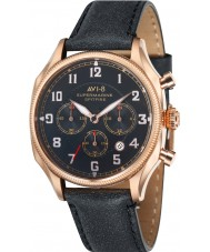 AVI-8 AV-4025-04 Mens Supermarine Seafire Black Leather Strap Chronograph Watch