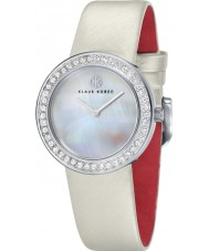 Klaus Kobec KK-10021-01 Ladies Penny White Leather Strap Watch with Crystal Bezel