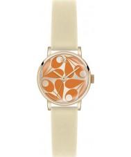 Orla Kiely OK2080 Ladies Patricia Orange Cream Leather Strap Watch