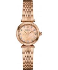 Bulova 97S116 Ladies Diamond Rose Gold Plated Bracelet Watch