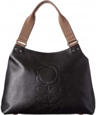 Orla Kiely 0LEAEFS024 Ladies Classic Flower Stem Embossed Black Zip Shoulder Bag