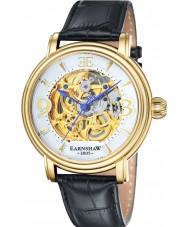 Thomas Earnshaw ES-8011-04 Mens Longcase Black Croco Leather Strap Watch