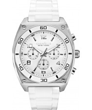 Caravelle New York 43A126 Mens Clark White Rubber Chronograph Watch