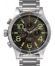 Nixon A486-1956 Mens 48-20 Silver Steel Bracelet Chronograph Watch