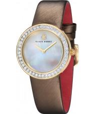 Klaus Kobec KK-10021-02 Ladies Penny Brown Leather Strap Watch with Crystal Bezel