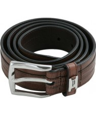 Police POMAA8-0402BL P Keeper Brown Leather Silver Buckle Belt - Size L