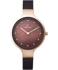 Obaku V173LXVNMN Ladies Brown Steel Mesh Bracelet Watch