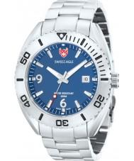 Swiss Eagle SE-9015-33 Mens Dive Torpedo Blue Silver Watch