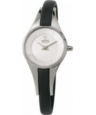 Obaku V110LXCIRB Ladies Silver Tone Skinny Black Leather Strap Watch