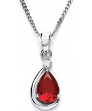 Purity 925 P3628P-2 Ladies Red Ruby Sterling Silver Necklace With CZ