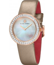 Klaus Kobec KK-10021-04 Ladies Penny Beige Leather Strap Watch with Crystal Bezel