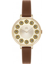 Orla Kiely OK2084 Ladies Ivy Swarovski Flowery Set Tan Leather Strap Watch