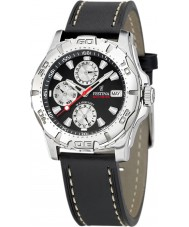 Festina F16243-6 Mens Multifunction Black Leather Strap Watch