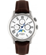 Rotary GS02838-01 Mens Timepieces Moonphase Brown Leather Strap Watch