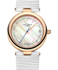 Lars Larsen 126RMWL Ladies Viviann Rose Gold White Leather Strap Watch