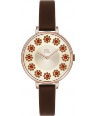 Orla Kiely OK2086 Ladies Ivy Swarovski Flowery Set Dark Brown Leather Strap Watch