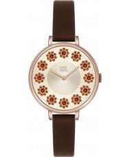 Orla Kiely OK2086 Ladies Ivy Swarovski Flowery Set Dark Brown Leather Strap Watch