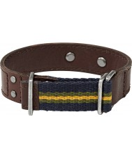 Fossil JA6125797 Mens Brown-Yellow-Blue Casual Leather Cuff